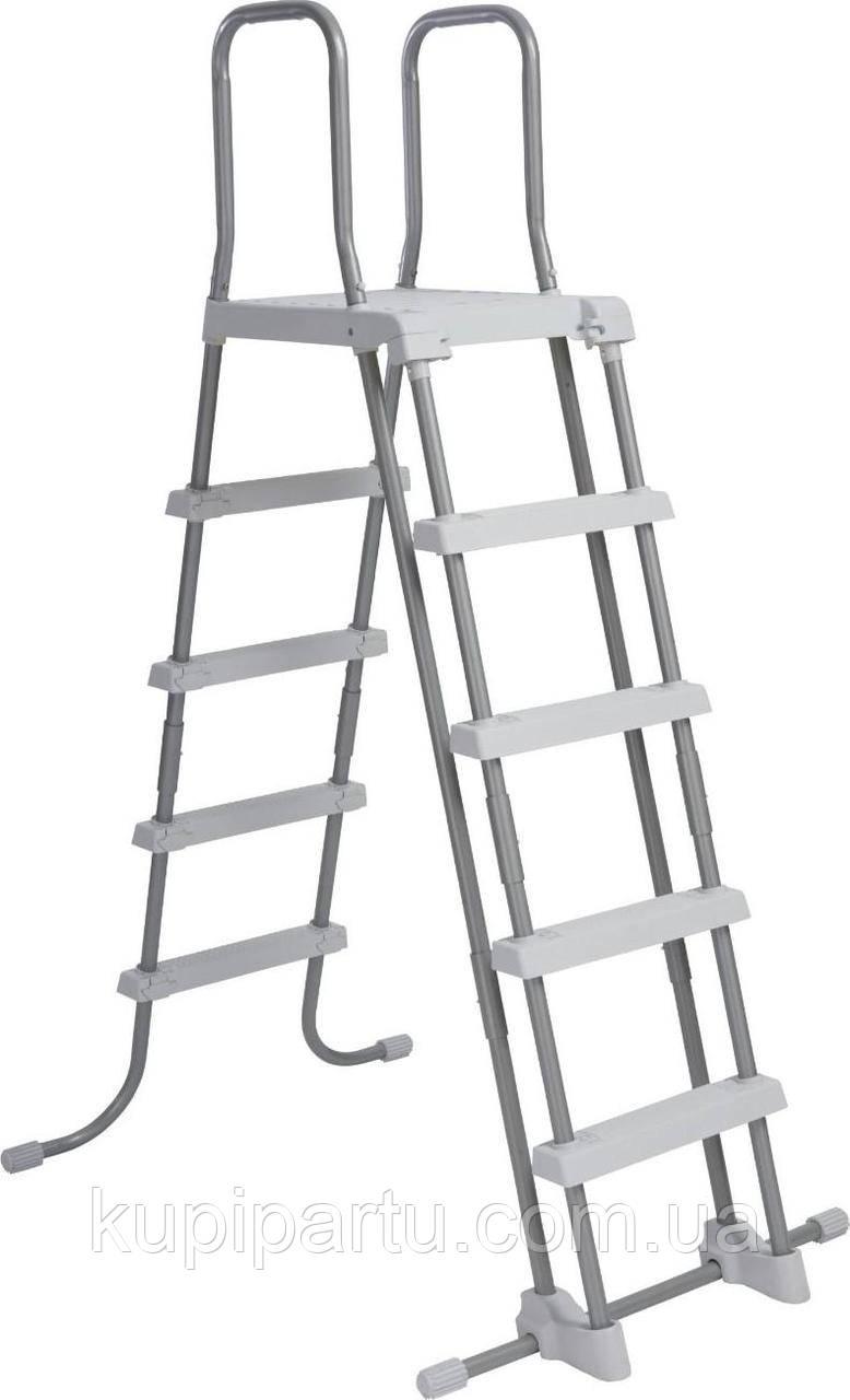 28077 Лестница для бассейнов до 132см, 4 ступеньки, с площадкой, с защитой