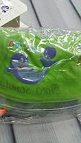 """Двухсторонний круг для купания на шею """"Дельфин""""  для деток 0+ зеленый с рыбками"""