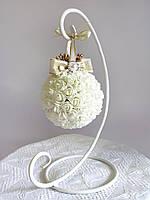Декоративный шар + подставка для интерьера или свадьбы в стиле винтаж айвори Luxury Ivory, фото 1