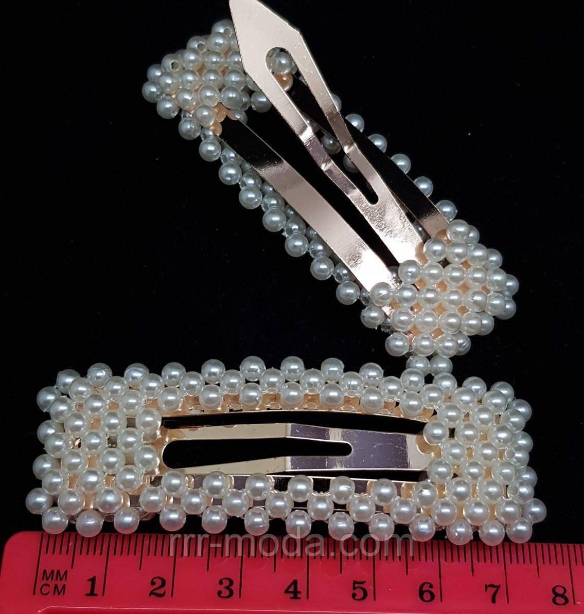 Брендовые заколки (7.5 см) с жемчугом по 13 грн/шт. Модные украшения для волос от Бижутерия оптом RRR