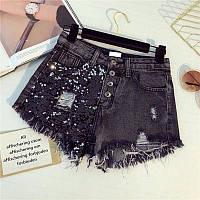 Женские джинсовые шорты с пайетками на пуговицах темно-серые, фото 1