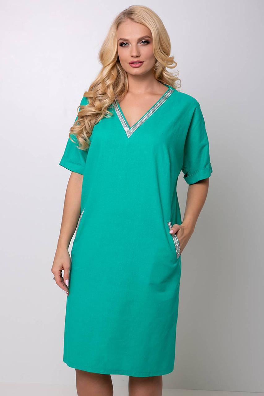 e788694f5f59 Женское летнее платье лен большого размера 54-60 размера зеленое - 💎TM