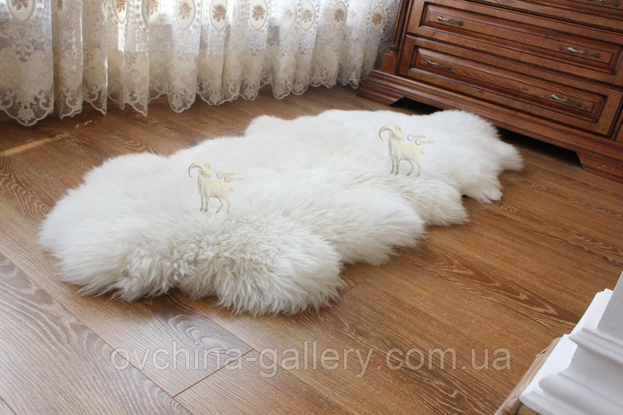 Ковер натуральный белый из 2-х овечьих шкур 2в1