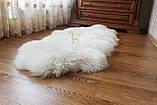 Ковер натуральный белый из 2-х овечьих шкур 2в1, фото 4
