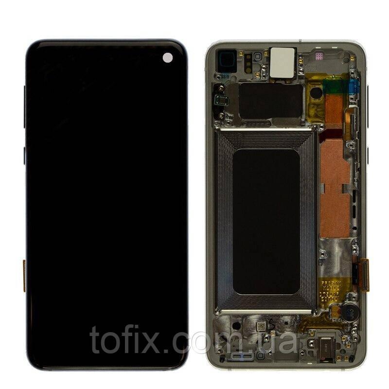 Дисплейный модуль (экран и сенсор) для Samsung Galaxy S10e G970, с рамкой, черный, оригинал