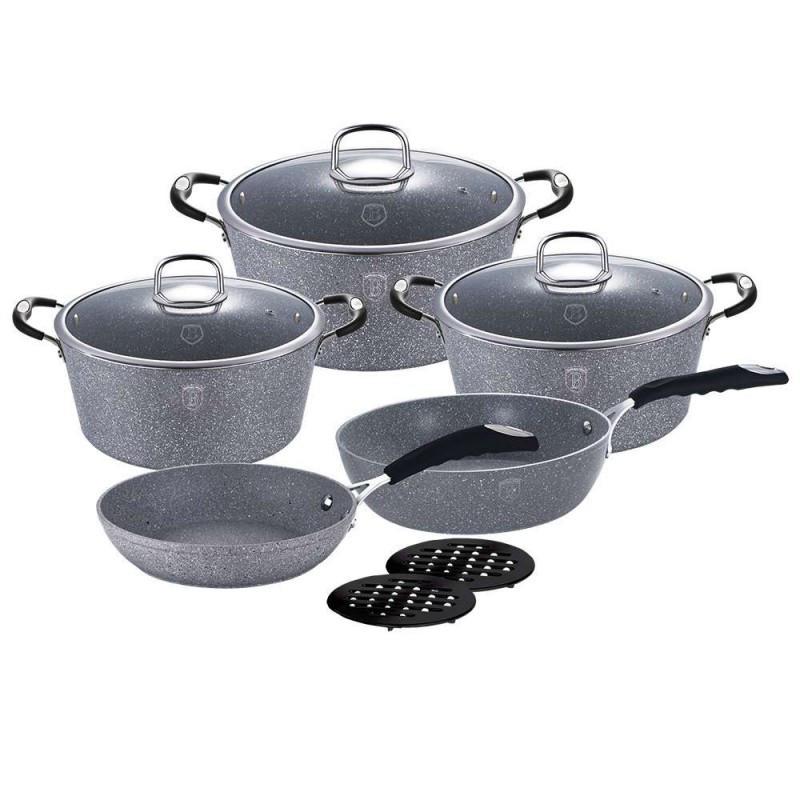 Кованый набор посуды Berlinger Haus Gray Stone Touch Line на 10 предметов (BH-1167N)