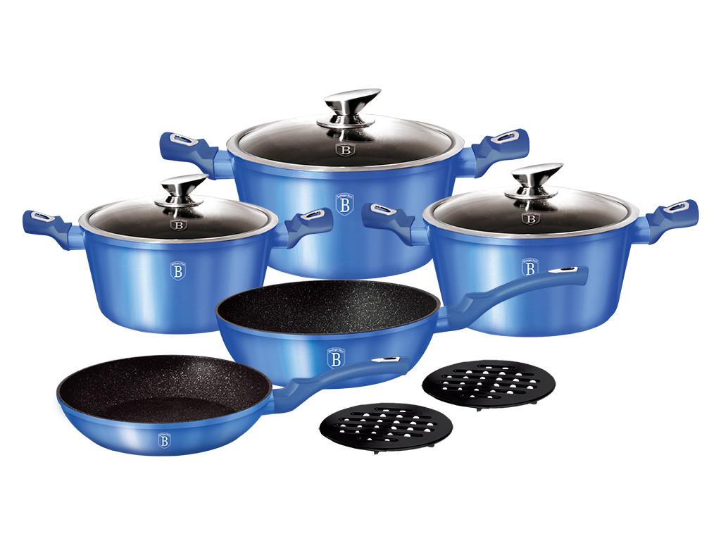 Большой набор посуды Berlinger Haus Metallic Line Royal Blue Edition на 10 предметов (BH-1658N)