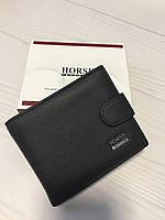 Классический черный кожаный кошелёк для мужчин на кнопке Horse