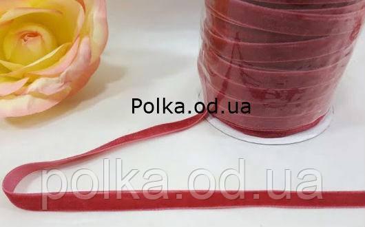 Тесьма бархатная, велюровая,цвет фрезовый (ширина 1 см).1уп-50ярдов=45метров