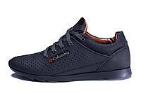 Мужские кожаные летние кроссовки, перфорация  Columbia  SB black (реплика)