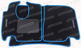 Mercedes-Benz Atego 1995- / 2005- ворсовые коврики (чёрный-синий) ЛЮКС