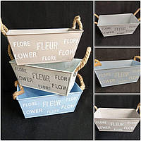 Кашпо металлическое с ручками Flower, 22х12х10 см., 110/90 (цена за 1 шт. + 20 гр.)