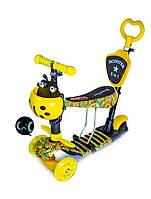 Самокат детский ScooTer 5в1 Божья Коровка Carousel с Родительской ручкой и Сиденьем (Разноцветный)
