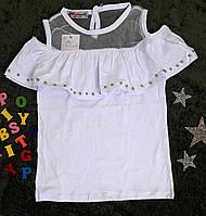 Блуза на девочку, короткий рукав, р. 116-164, белый