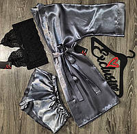 Комплект пижама (топ и шорты) и халат.