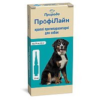 Капли от блох и клещей для собак от 20 до 40 кг Природа ПрофиЛайн / 4 пипетки х 3 мл