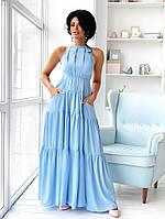 Нарядное платье А-силуэта в пол с карманами голубого цвета (S/M, M/L)
