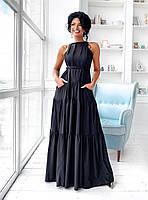 Черное летнее платье А-силуэта в пол с карманами (S/M, L/XL)