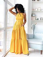 Желтое нарядное платье А-силуэта в пол с карманами (S/M, L/XL)