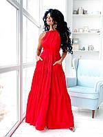 Красное нарядное платье А-силуэта в пол с карманами (S/M, L/XL)