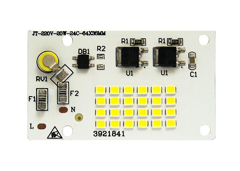 Светодиодная LED матрица 20Ватт SMD2835 24Led 220V ( встроенный драйвер ) 64*38mm