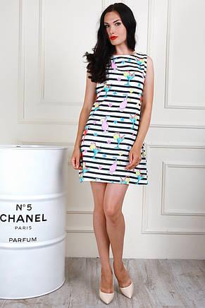 Модное приталенное летнее платье мини с современным принтом, фото 2