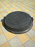 Люк канализационный полимерпесчаный  тяжелый черный С250