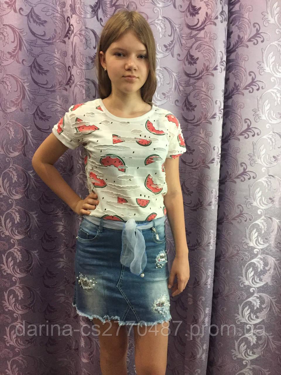 Джинсовая юбка для девочки модная 8(140)-18(170)
