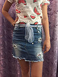 Джинсовая юбка для девочки модная 8(140)-18(170), фото 2