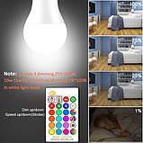Cветодиодная LED лампочка 4W с пультом цветная + белый свет RGBW поддержка димера анимация цветов, фото 8