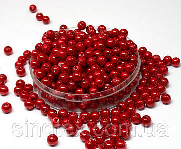 Жемчуг стеклянный  Ø6мм пачка - примерно 100 шт, цвет -  красный глянцевый