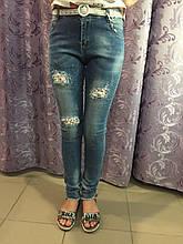 Рваные подростковые джинсы для девочки 10(146)