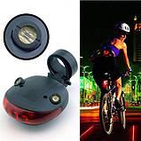 Лазерный светодиодный задний фонарик безопасности для велосипеда с 7-ю режимами, фото 5