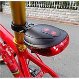 Лазерный светодиодный задний фонарик безопасности для велосипеда с 7-ю режимами, фото 6