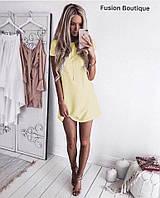 Платье женское голубое, жёлтое, розовое, фото 1
