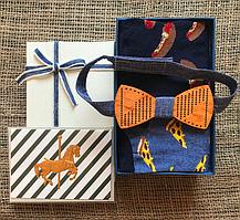 """Подарочный набор с Носками """"Бутерброды"""" и деревянной Бабочкой"""