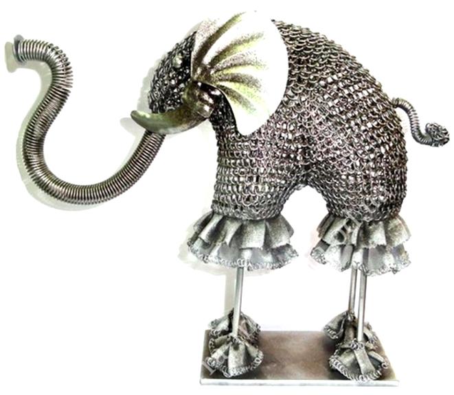 Слон на тонких ножках металлический 30 см