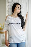Стильна літня біла жіноча ажурна батистова туніка №1803, фото 1