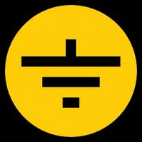 """Самокл. етикетка  30х30 мм, символ """"Заземление"""""""