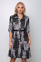 ✔️ Платье женское рубашечное большого размера 54-60 размера черное, фото 1