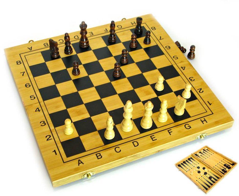 Шахматы, Нарды, Шашки из бамбука 40 см