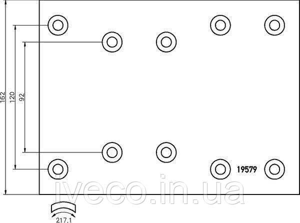 Накладки тормозные с заклепками MAN, MB O305-408 автобус 2 рем.  МАН 19579/2 19.7 MAN 19579VWA