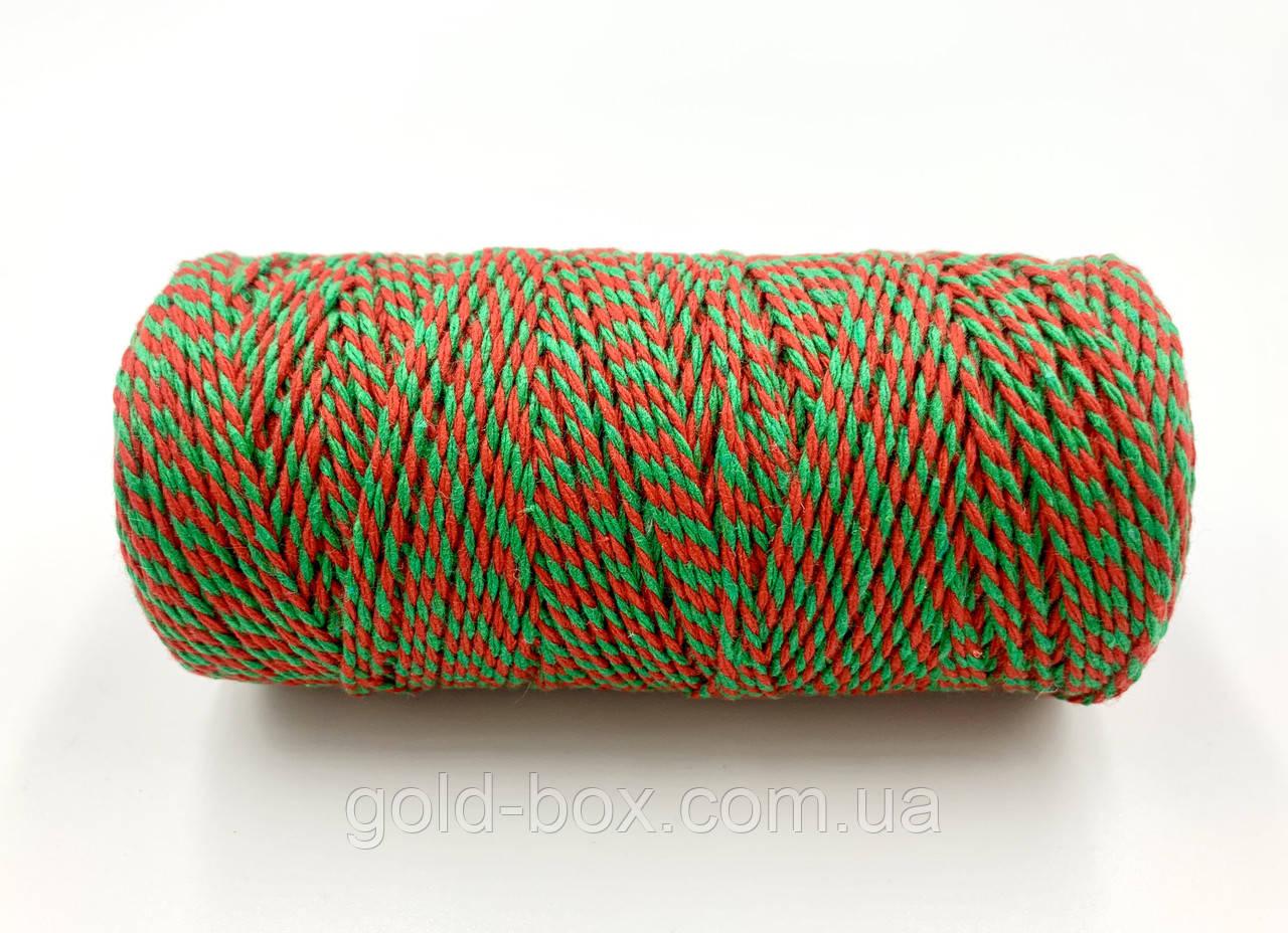 Джутовый канат красно-зелёный 100 м