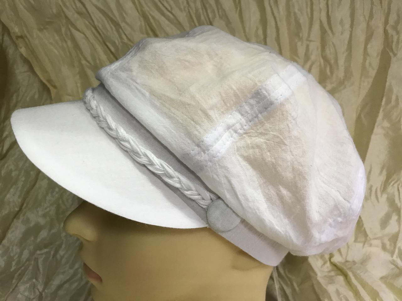 Белая женская летняя кепка из хлопка размер 56-59