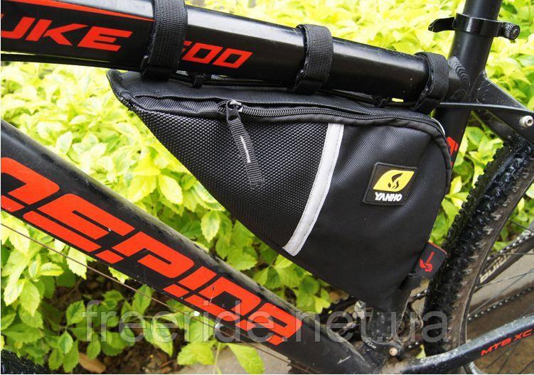 Велосумка YANHO, треугольный сумка под раму (черная)