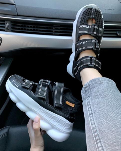 "Женские сандали Versace Chain React Sandals ""Black"" ( в стиле Версаче)"