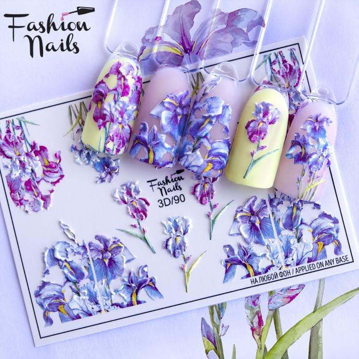 Слайдер-дизайн 3D Квіти Ірис Fashion Nails