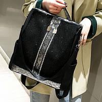 Женский молодежный повседневный водоотталкивающий рюкзак с декором на лицевой стороне, фото 1
