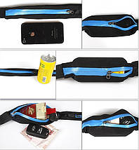 Пояс мини сумка с большим карманом под мелочи для спорта (черная) бананка, фото 3