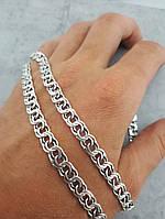 Мужская серебряная цепочка, Бисмарк. Серебро 925°,  Звено 6мм